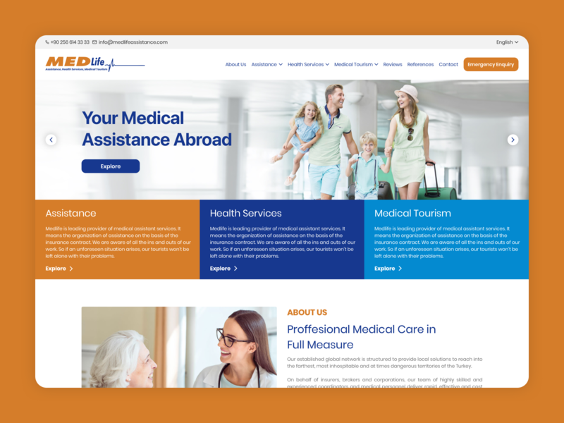 Assistance, Health Services & Care, Medical Tourism Website UI
