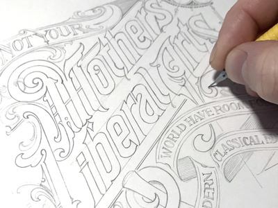 Editorial process sketch pencil title lettering hand typography schmetzer