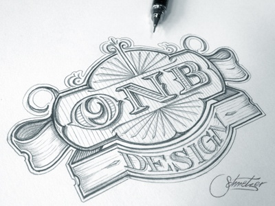 ONB schmetzer sign typography logotype letters vintage