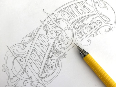 Grand & Bowery pencil sketch typography lettering hand schmetzer