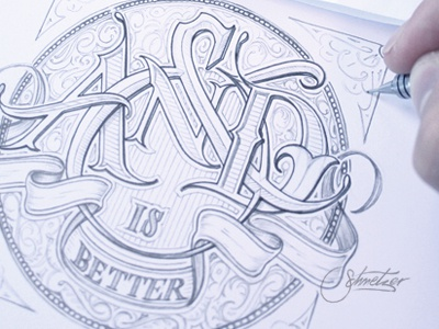 And is Better schmetzer andisbetter fordsocial ford pencil drawing typography