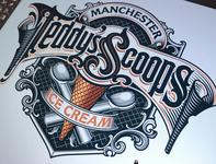 Teddy's Scoops lettering logotype icecream schmetzer