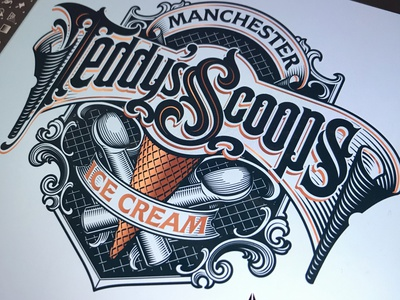 Teddy's Scoops lettering logotype icecream schmetzer