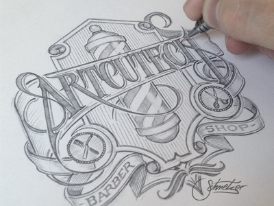 Artcutech WIP schmetzer artcutech barber shop logotype pencil sketch