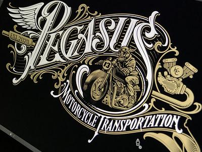 Pegasus logotype illustration motorcycle pegasus vector lettering hand schmetzer
