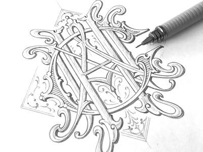 """CHAN"" monogram - sketch sketch lettering hand typography monogram schmetzer"