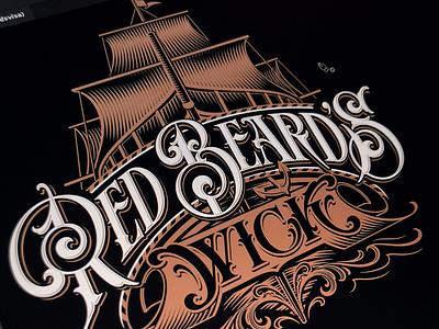 Red Beard's Wick - vector illustration vector logotype lettering hand typography schmetzer