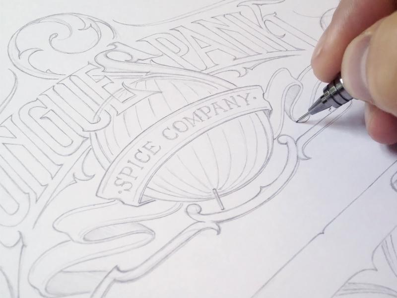 Tonguespank schmetzer logotype wip pencil sketch hand lettering