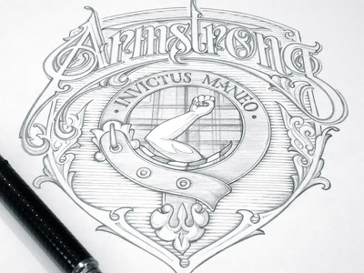 Coat of Arms schmetzer armstrong coat of arms family crest pencil sketch
