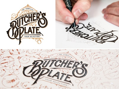 Butcher's Plate schmetzer butchers plate sibylla hand drawn logotype pattern design