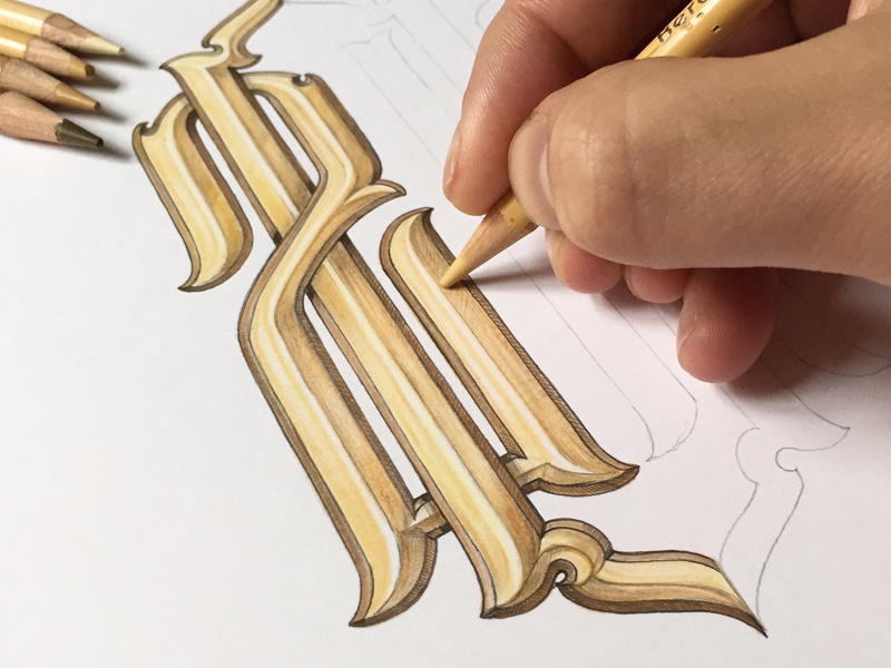 Gold in progress process type gold lettering hand schmelzer