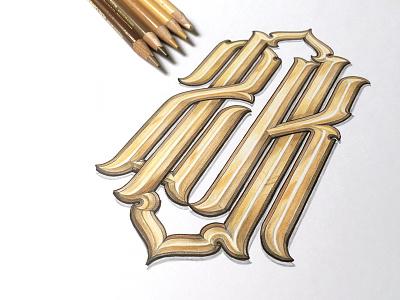 20k monogram type drawn hand lettering gold monogram 20k schmetzer