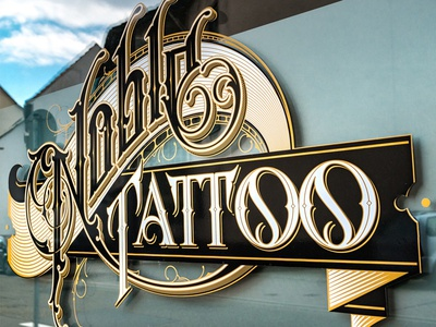 Noble design type handlettering logotype studio tattoo noble schmetzer