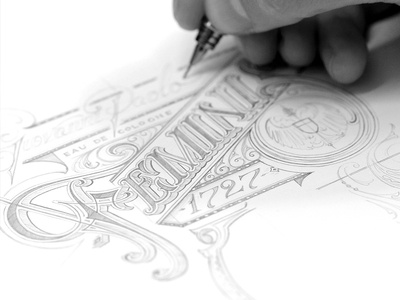 Feminis prebound sketch typography lettering hand design cologne de eau schmetzer