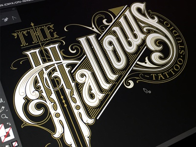 Hallows wip 2 logotype tattoo typography lettering hand sketch hallows the schmetzer