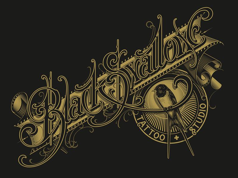 Black Swallow typography lettering hand bird vector swallow black schmetzer