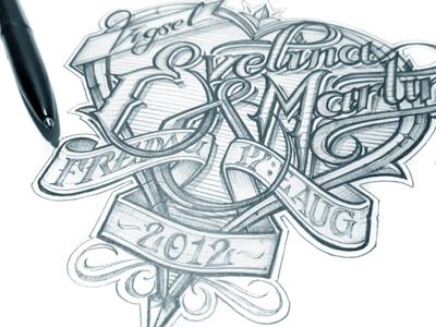 E&M schmetzer typography design heart scroll ballpoint sketch pen paper marriage hand drawn