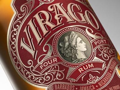 Virago packaging spirit rum labeldesign typography schmetzer