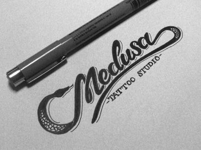 Medusa 2 schmetzer medusa tattoo studio snake ink typography letters type pen sketch