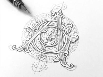 AG- sketch sketch monogram lettering schmetzer