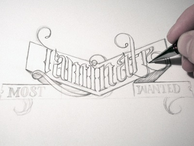 Laminate process schmetzer typography lettering pencil laminate most wanted title