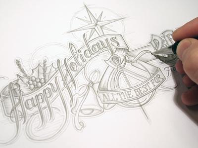 Christmas card schmetzer christmas card happy holidays vintage typography star bells pencil sketch