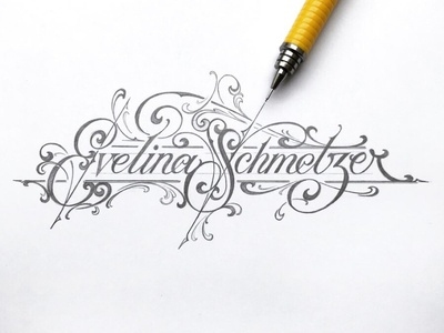 Evelina sketch pencil lettering hand typography schmetzer