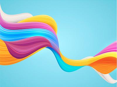 Color Flow style art geometric background dynamic colorful flow freevector illustrator brush line color design illustration vector