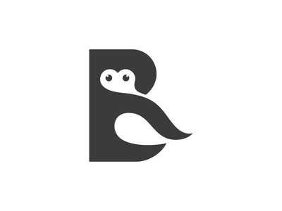 RB Owl logo design in negative spacing style