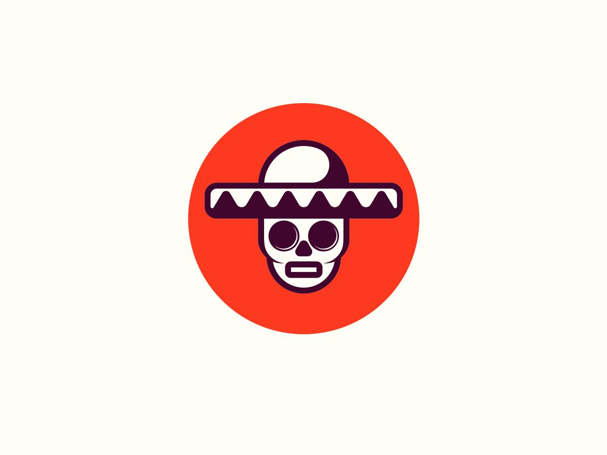 Skull Fiesta fun face man illustration dot red head design minimal skull hat fiesta