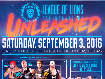 Poster: League of Lions Pro-Wrestling (2016) gig poster czw wwe wrestlers wrestler wrestling prowrestling logo adobe photoshop adobe illustrator poster