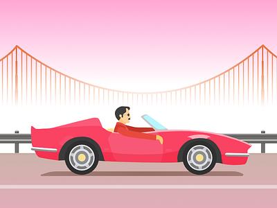 Convertible Cruise san francisco golden gate bridge car bridge la mogul sportscar guy w sunglasses cabriolet
