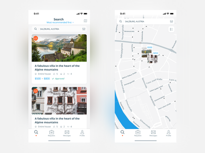 Booking app concept booking airbnb search map ux ui rental booking app ios mobile app design