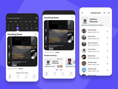 Events Analysis Screens flyer app flat mobile ux ui club promoters statistic month week shedule