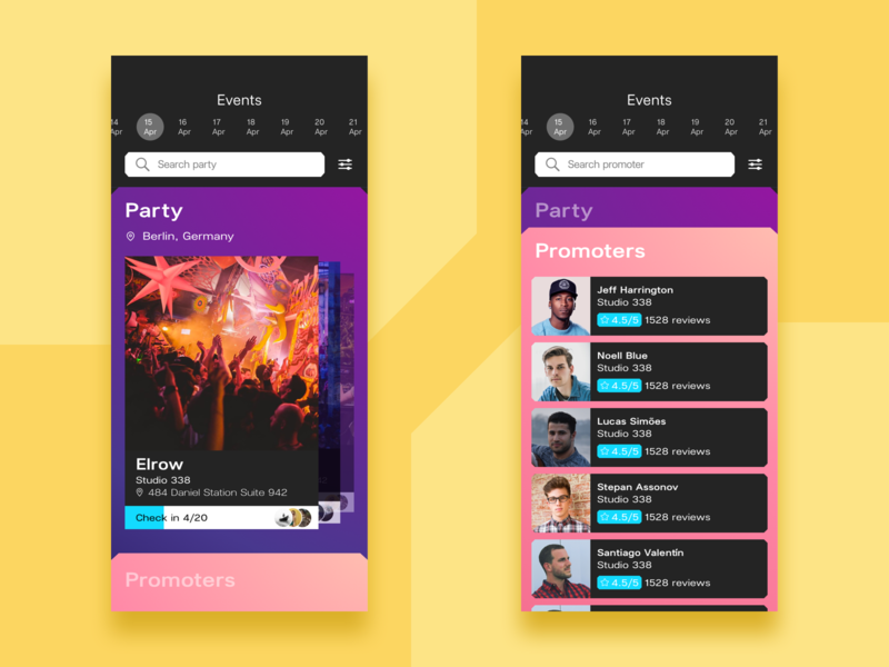 Event cards for night club app ux ui search schedule promoter mobile minimal ios flat design app design app cards