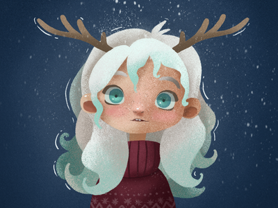 The first snow of the year faun winter snow fantasy character illustration