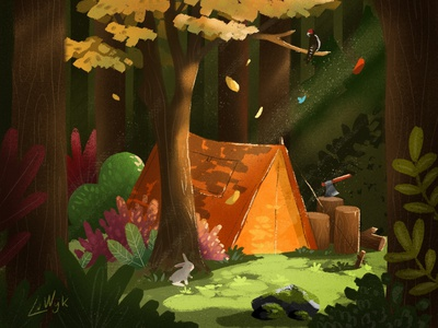 The perfect spot forest tent camping trees autum procreate plants nature illustration campsite