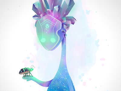"""""""When Big Meets Little"""" hike one space fantasy spirit character vector illustration"""