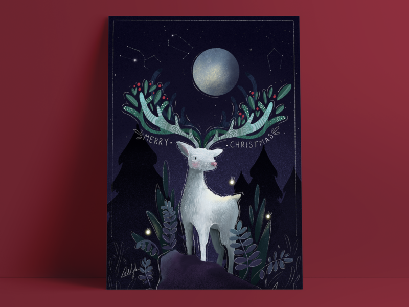 Merry Christmas my deer! leaves night evening light constellation stars animal nature fantasy illustration hike one postcard forest moon plants nordic white deer card christmas