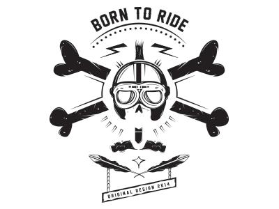 Born to ride helmet motor white and black illustration