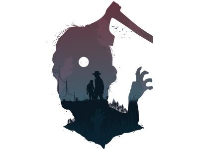 The Walking Dead rick zombie dead walking illustrator vector illustration