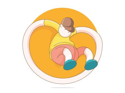 Jumpboy construction circle flat color miniboy illustration vector