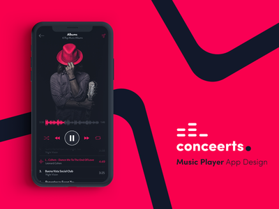 Conceerts - Music Player App / Logo Design stream artist ux ui dark mobile logo music app spotify apple google deezer music app playlist player iphone x material ios social