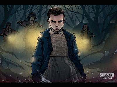 """""""Stranger things"""" stranger things golopolosov egor lineart digital art illustration 11 tv tvseries netflix strangerthings"""