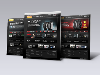 Pirelli - website restyling web ui tyres snow site power pirelli experience driving control banners