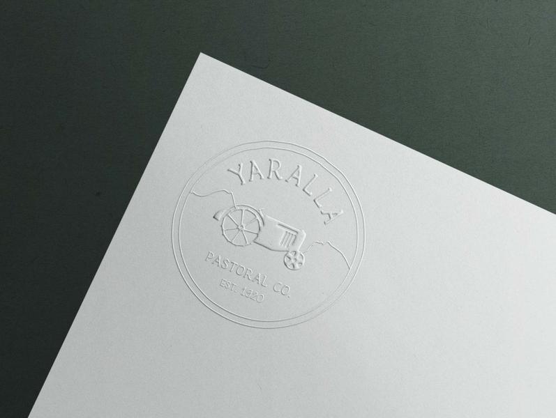 Logo for Yaralla Pastoral Co printing design vintage tractors embossed stamp design typogaphy handmade font green logo black illustration vector logo design branding and identity branding