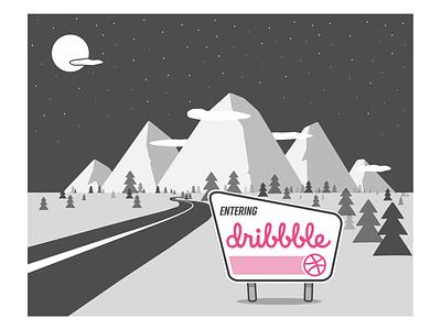 Hello Dribbble white mountains sign in illustration mountains