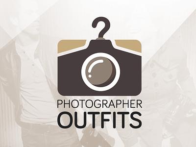 Photographer Outfits logo design camera lens brown photographer outfit typography logotype elegant clothing shirt hanger