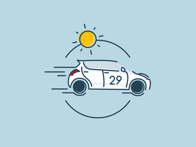 Sun Ride design flat car outline icon illustration ride sun swift suzuki