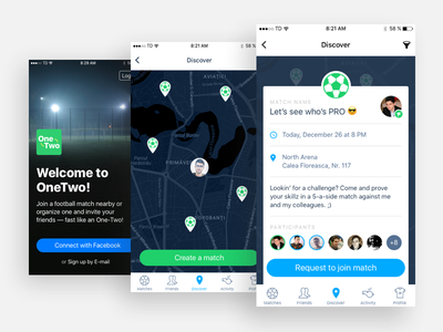 OneTwo - Find football matches around you social map navigation icons logo design ui ux ios app